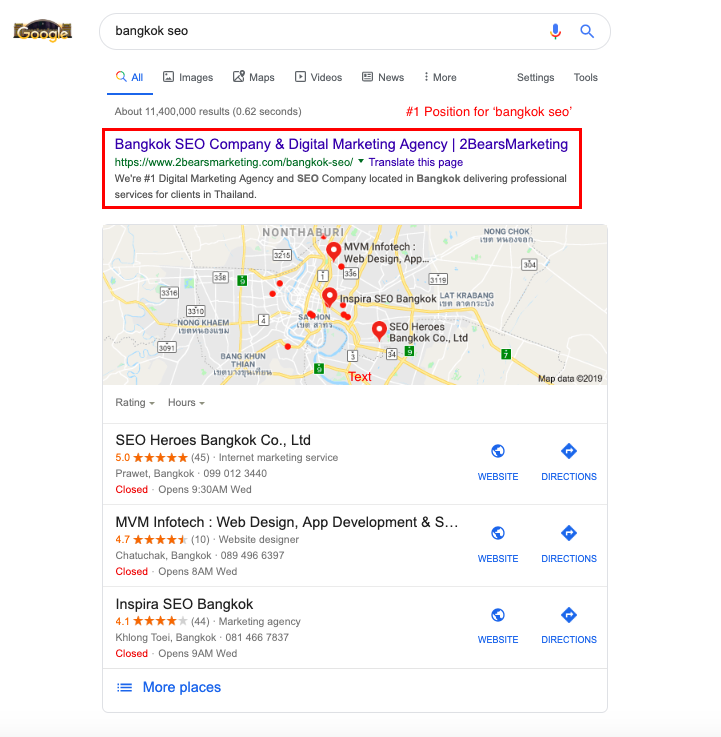 อันดับ 2bearsmarketing seo agency bangkok